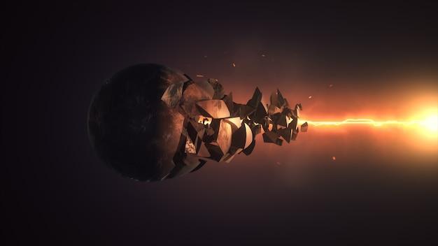 Fiery laser destruyendo la representación 3d de la esfera