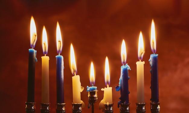 Fiesta judía de janucá símbolos - menorah