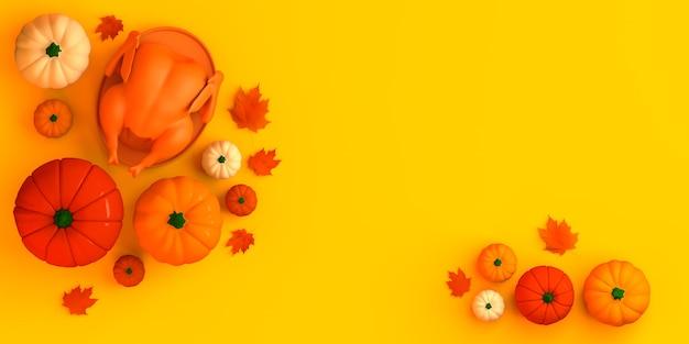 Fiesta de otoño calabazas al horno pavo y hojas caídas día de acción de gracias banner 3d ilustración