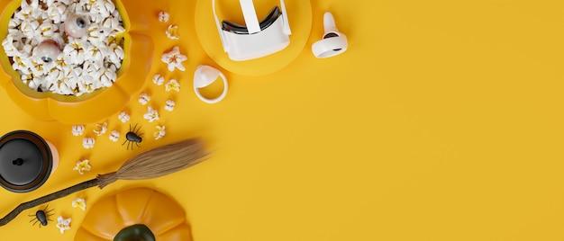 Fiesta virtual de halloween vr gafas accesorios de halloween fondo amarillo representación 3d