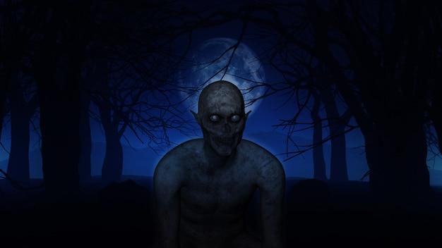 Figura demoníaca 3d en maderas fantasmagóricas.