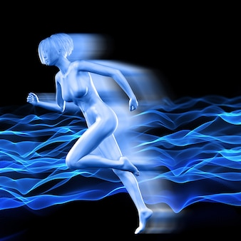 Figura femenina 3d con efecto de velocidad en el fondo de puntos que fluyen