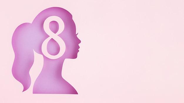 Figura femenina de papel lateral 8 de marzo