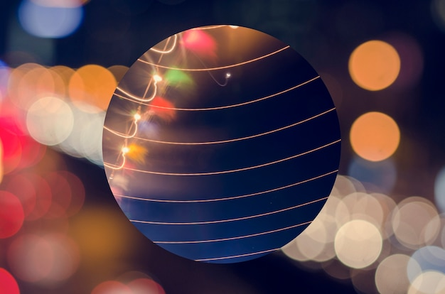 Figura geométrica noche luz festiva