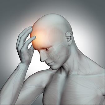 Figura humana 3d con dolor de cabeza