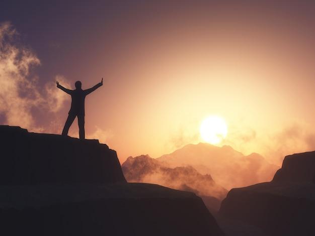 Figura masculina 3d con los brazos levantados de pie en la montaña contra el cielo del atardecer