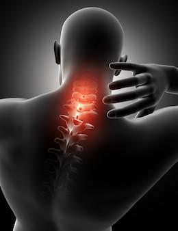 Figura masculina 3d con el cuello resaltado en el dolor