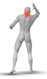 Figura masculina 3d con dolor de cuello.