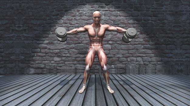 Figura masculina 3d en mancuerna de pie levantamiento lateral levantada brazos posan