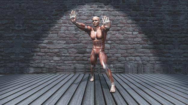 Figura masculina 3d en pose de estiramiento permanente en interior grunge