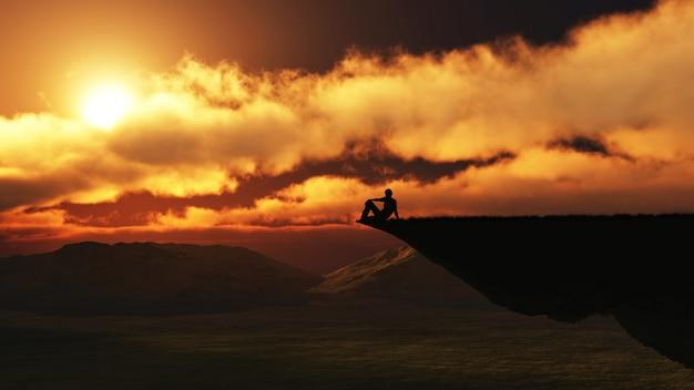 Figura masculina 3d sentada en el borde de un acantilado.