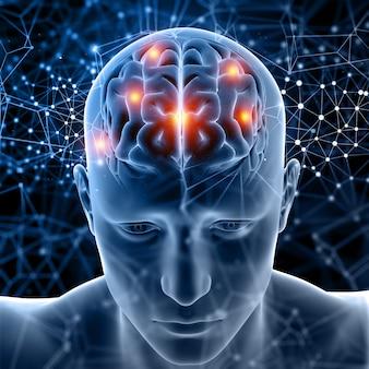 Figura médica 3d con cerebro resaltado