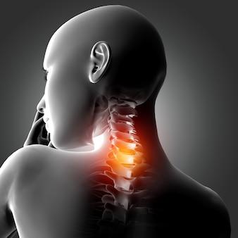 Figura médica femenina 3d con huesos del cuello resaltados.