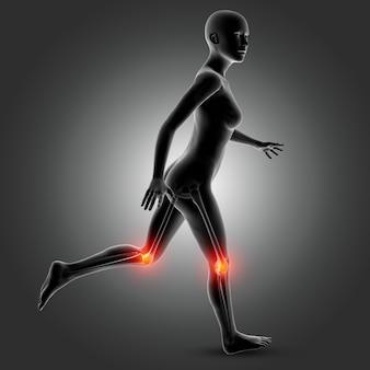Figura médica femenina 3d en pose de carrera con huesos de rodilla resaltados