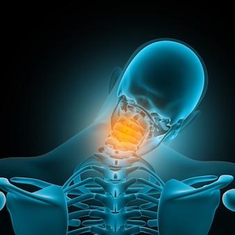 Figura médica masculina 3d con huesos del cuello resaltados en dolor.