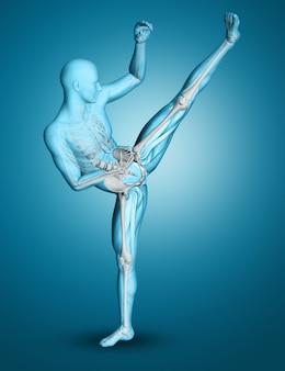 Figura médica masculina 3d en una pose de boxeo de retroceso