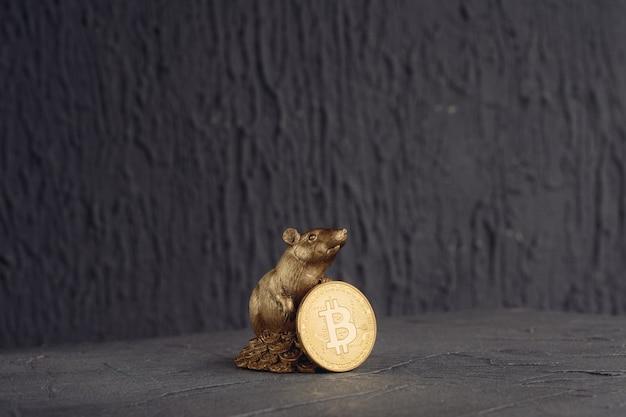 Figura rata con moneda de oro bitcoins
