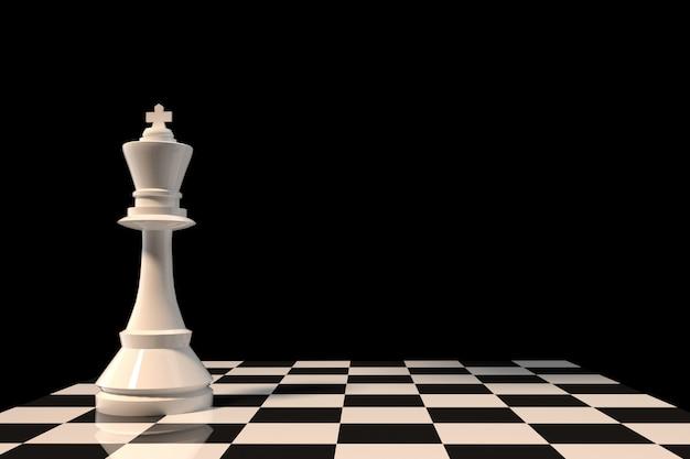 Figura del rey del ajedrez blanco en el tablero de ajedrez en representación 3d