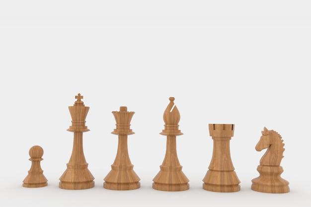 Figuras de ajedrez de madera en renderizado 3d.