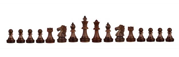 Figuras de ajedrez de madera.