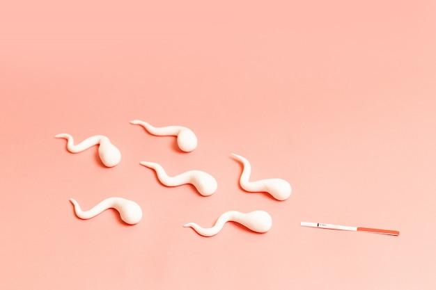 Figuras de esperma y test de embarazo sobre fondo de coral vivo. concepto medico