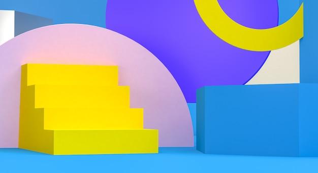 Figuras geométricas primitivas, render 3d, podio para los productos publicitados.