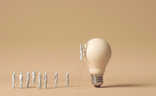 Figuras humanas que usan escalera para alcanzar la bombilla como concepto de idea