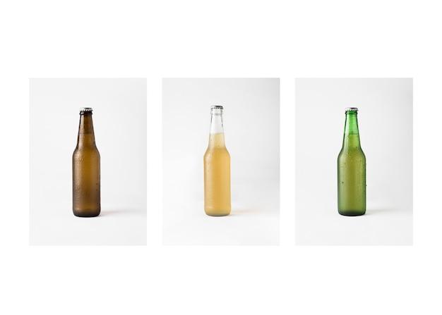 Fila de botellas de cerveza