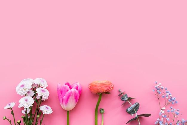 Fila de diferentes flores frescas de colores en tallos