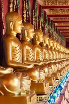 Fila de la estatua de buda de oro tailandés en wat bang thong (wat mahathat wachira mongkol). es un hermoso templo budista y famoso templo en krabi, tailandia