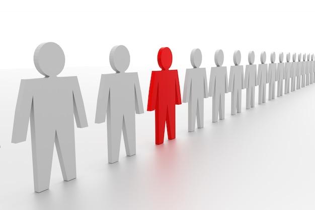 Una fila de hombres 3d. uno en rojo y otros en gris.