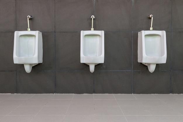 Fila del tocador público de los hombres blancos del urinario con el fondo gris de la pared