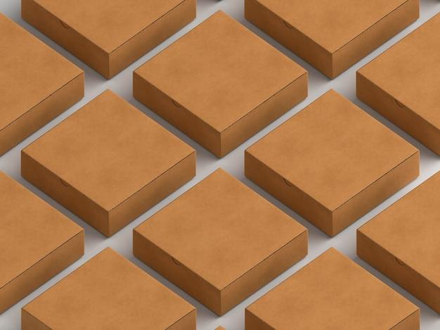 Filas y columnas de cajas de cartón simples.