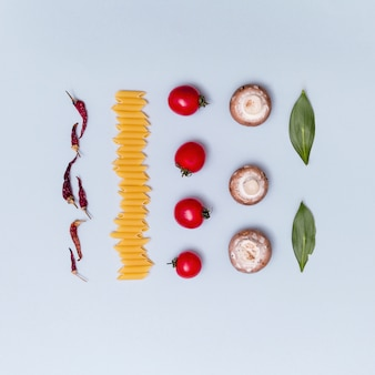 Filas de ingrediente de pasta cruda vegetariana fresca sobre fondo gris