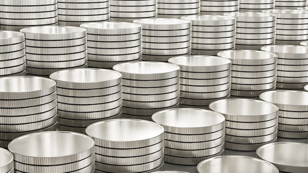 Filas de monedas de plata de fondo como un paso hacia arriba