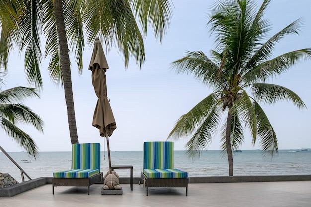 Filas de tumbonas con sombrilla doblada y cocoteros en la costa