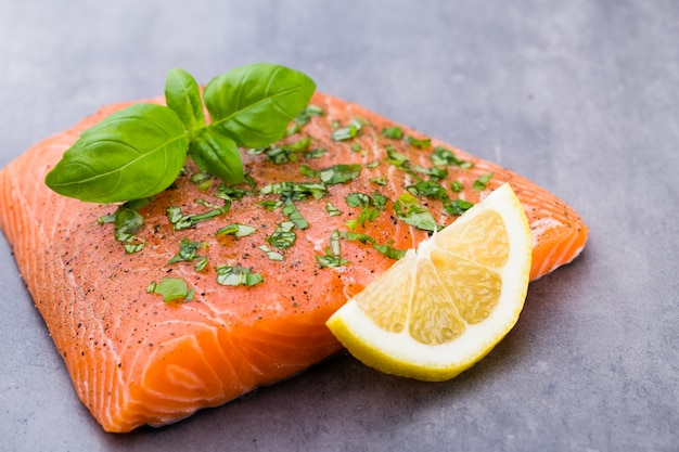 Filete de salmón fresco con especias en el gris