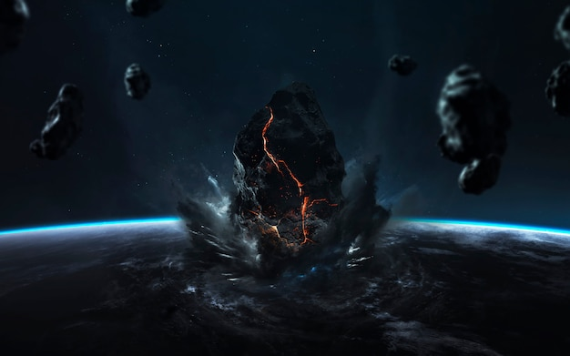 Fin de la tierra. apocalipsis, el asteroide explota el planeta. lluvia de meteoritos.