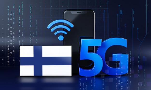 Finlandia lista para el concepto de conexión 5g. fondo de tecnología de teléfono inteligente de renderizado 3d