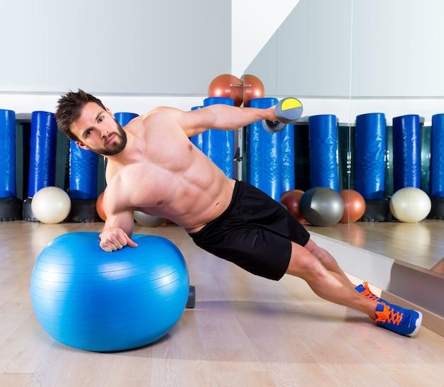 Fitball abdominales laterales flexiones suiza bola hombre