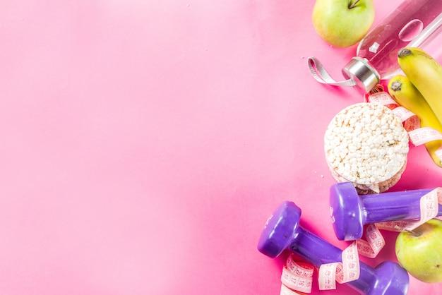 Fitness y comida sana en rosa