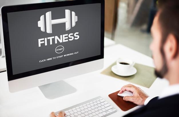 Fitness, salud, fuerza física, entrenamiento, entrenamiento, concepto
