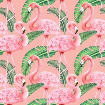Flamencos y hojas de plátano sobre fondo rosa