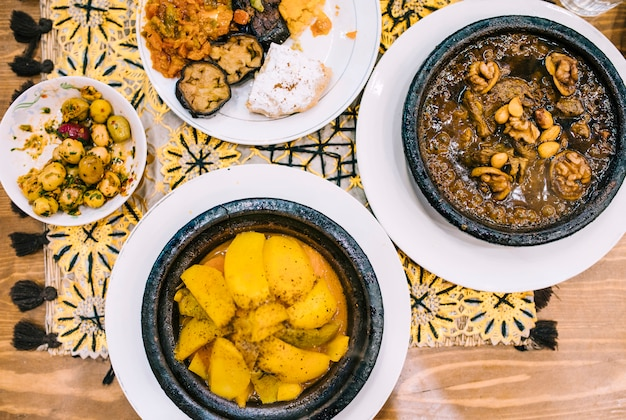Flat lay de comida oriental