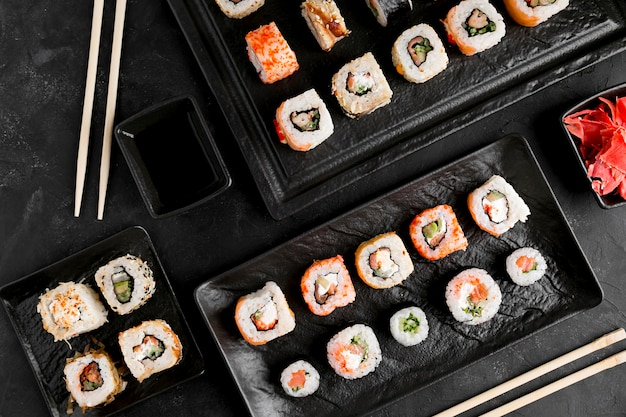 Flat lay delicious sushi