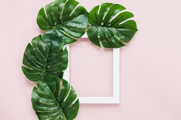 Flat lay de hojas tropicales con copyspace