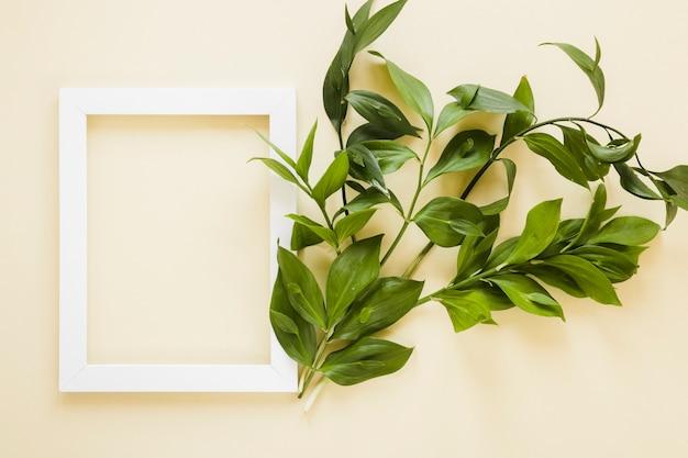 Flat lay de marco con decoración de hojas