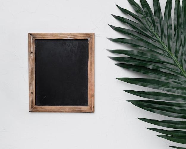 Flat lay de plantilla de pizarra con concepto de naturaleza