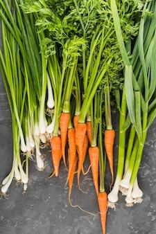 Flat lay de zanahorias