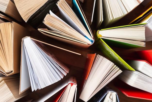 Flat pone libros abiertos sobre la mesa